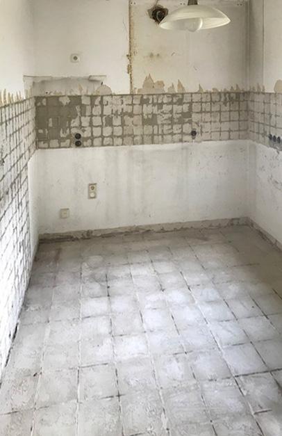 entkernter Küchenraum